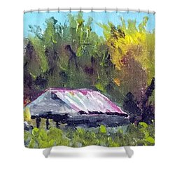 Tobacco Barn On Deppe Loop Rd Shower Curtain by Jim Phillips