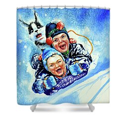 Shower Curtain featuring the painting Toboggan Terrors by Hanne Lore Koehler