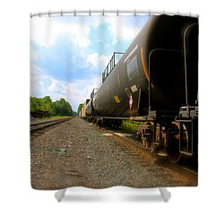 Shower Curtain featuring the photograph Tobyhanna Freight Train by Iconic Images Art Gallery David Pucciarelli
