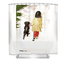 Together - Black Labrador And Woman Walking Shower Curtain