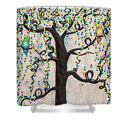 Shower Curtain featuring the mixed media Together Forever by Natalie Briney