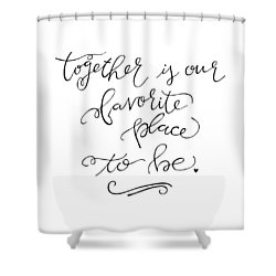 Shower Curtain featuring the drawing Together by Nancy Ingersoll
