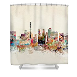Shower Curtain featuring the painting Tokyo City Skyline by Bri B