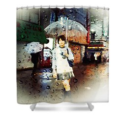 Shower Curtain featuring the painting Rainytokyo Night by Chris Armytage