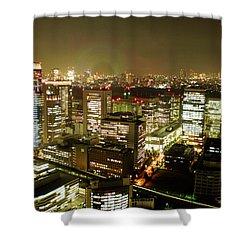 Tokyo Skyline Shower Curtain by Nancy Ingersoll