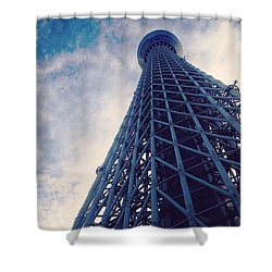 Skytree Tower From The Bottom, Tokyo, Japan Shower Curtain