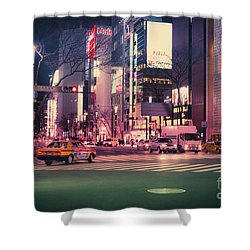Tokyo Street At Night, Japan 2 Shower Curtain