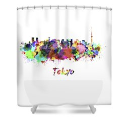 Tokyo V2 Skyline In Watercolor Shower Curtain by Pablo Romero