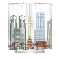 Tokyo V2 Skyline Poster Shower Curtain by Pablo Romero