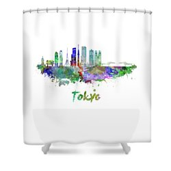 Tokyo V3 Skyline In Watercolor Shower Curtain