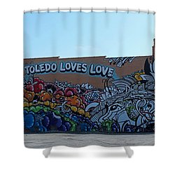 Shower Curtain featuring the photograph Toledo Loves Love by Michiale Schneider