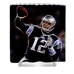 Tom Brady - New England Patriots Shower Curtain by Paul Ward
