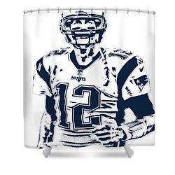 Tom Brady New England Patriots Pixel Art 6 Shower Curtain by Joe Hamilton