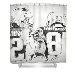 Shower Curtain featuring the drawing Tom Brady Rob Gronkowski Sketch by Dan Sproul