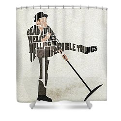 Shower Curtain featuring the digital art Tom Waits Typography Art by Inspirowl Design