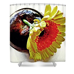 Tomato And Daisy Shower Curtain by Sarah Loft