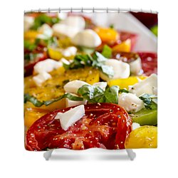 Tomatoes, Basil And Cheese Shower Curtain