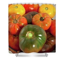 Tomatoes In A Basket Shower Curtain by Dan Carmichael