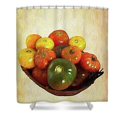 Tomatoes In A Basket Wide Ap Shower Curtain by Dan Carmichael