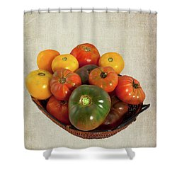 Tomatoes In A Basket Wide Shower Curtain by Dan Carmichael