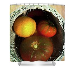 Tomatoes In A Horn Of Plenty Basket 2 Ap Shower Curtain by Dan Carmichael