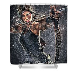 Tomb Raider Shower Curtain by Taylan Apukovska