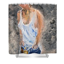 Shower Curtain featuring the painting Tomboy In Bluejeans by Michael Helfen