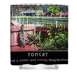 Shower Curtain featuring the photograph Tomcat Breakfast by Hanny Heim