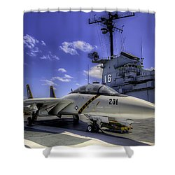 Shower Curtain featuring the photograph Tomcat On Deck by Tim Stanley