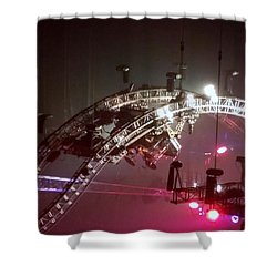 Tommy Lee Motley Crue Farewell Tour Brooklyn N Y 2015 Or Flying Drums Shower Curtain by Rob Hans
