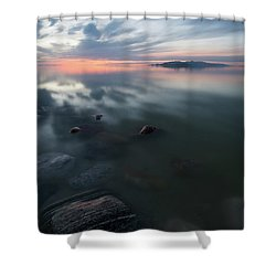 Tonal Sunset II Shower Curtain by Justin Johnson