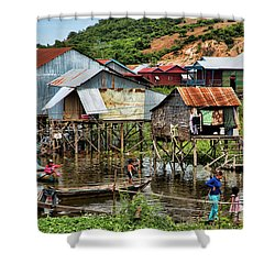 Tonle Sap Boat Village Cambodia Shower Curtain