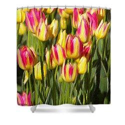 Too Many Tulips Shower Curtain by Jeffrey Kolker