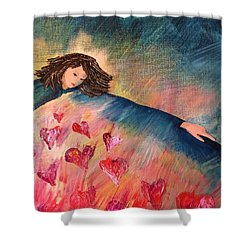 Shower Curtain featuring the painting Too Much Love To Contain by Lisa DuBois