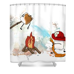 Shower Curtain featuring the digital art Too Toasted Illustrated by Heather Applegate