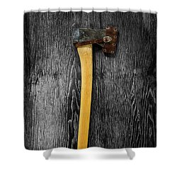 Tools On Wood 11 On Bw Shower Curtain by YoPedro