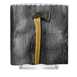 Tools On Wood 12 On Bw Shower Curtain by YoPedro