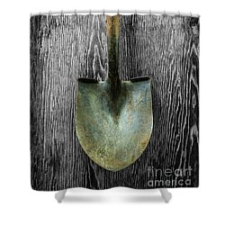 Tools On Wood 15 On Bw Shower Curtain by YoPedro