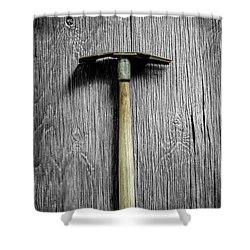Tools On Wood 16 On Bw Shower Curtain by YoPedro