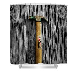 Tools On Wood 17 On Bw Shower Curtain by YoPedro