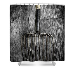Tools On Wood 25 On Bw Shower Curtain by YoPedro