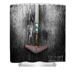 Tools On Wood 5 On Bw Shower Curtain by YoPedro