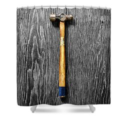 Tools On Wood 51 On Bw Shower Curtain by YoPedro