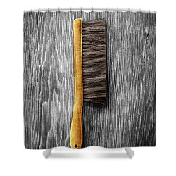 Tools On Wood 52 On Bw Shower Curtain by YoPedro