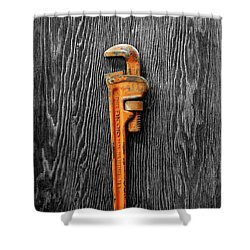 Tools On Wood 60 On Bw Shower Curtain by YoPedro