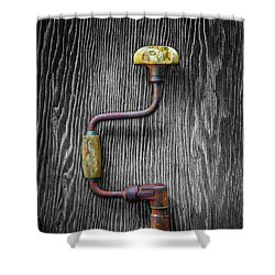 Tools On Wood 61 On Bw Shower Curtain by YoPedro