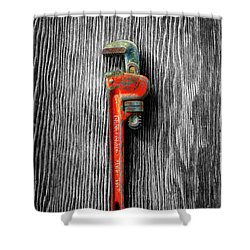 Tools On Wood 62 On Bw Shower Curtain by YoPedro