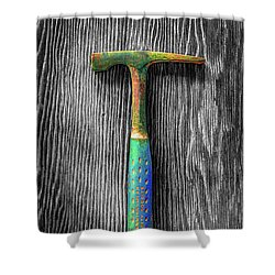 Tools On Wood 63 On Bw Shower Curtain by YoPedro