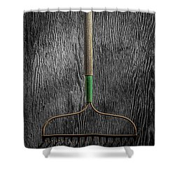 Tools On Wood 8 On Bw Shower Curtain by YoPedro