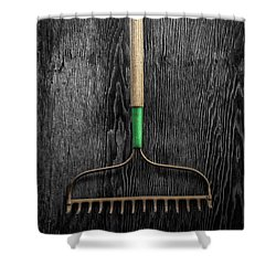 Tools On Wood 9 On Bw Shower Curtain by YoPedro